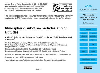 Atmospheric Sub-3 Nm Particles at High A... by Mirme, S.