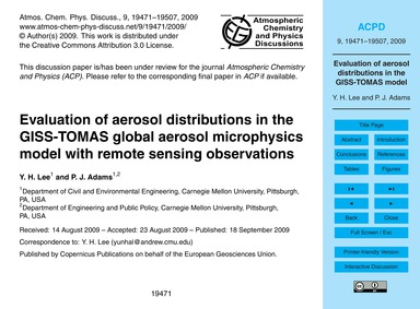 Evaluation of Aerosol Distributions in t... by Lee, Y. H.