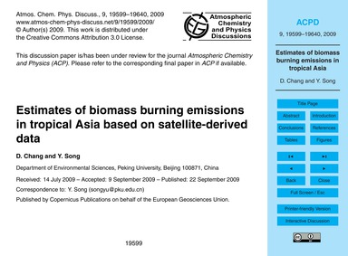 Estimates of Biomass Burning Emissions i... by Chang, D.