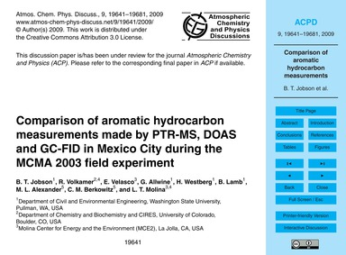 Comparison of Aromatic Hydrocarbon Measu... by Jobson, B. T.