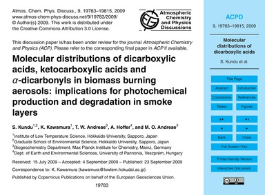 Molecular Distributions of Dicarboxylic ... by Kundu, S.