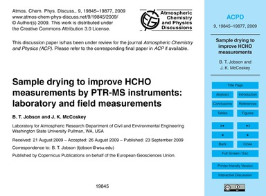 Sample Drying to Improve Hcho Measuremen... by Jobson, B. T.