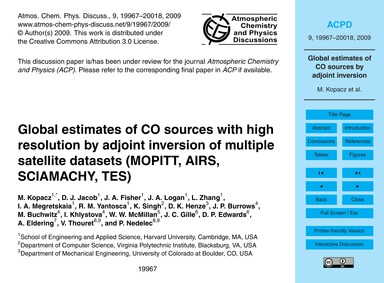 Global Estimates of Co Sources with High... by Kopacz, M.