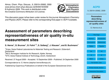 Assessment of Parameters Describing Repr... by Henne, S.
