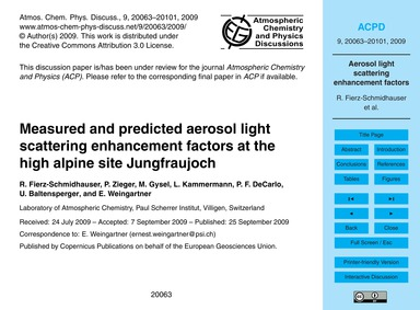 Measured and Predicted Aerosol Light Sca... by Fierz-schmidhauser, R.