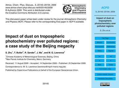 Impact of Dust on Tropospheric Photochem... by Zhu, S.