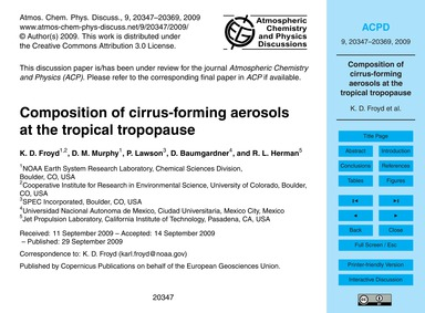 Composition of Cirrus-forming Aerosols a... by Froyd, K. D.