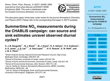 Summertime NoX Measurements During the C... by Bauguitte, S. J.-b.