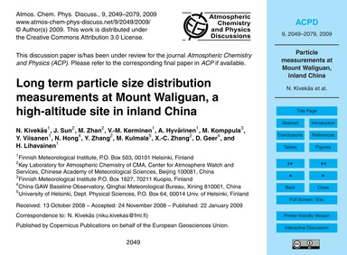 Long Term Particle Size Distribution Mea... by Kivekäs, N.