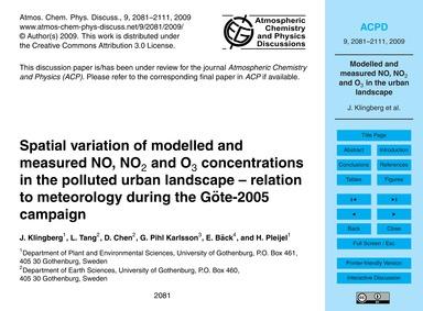 Spatial Variation of Modelled and Measur... by Klingberg, J.