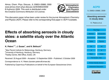 Effects of Absorbing Aerosols in Cloudy ... by Peters, K.