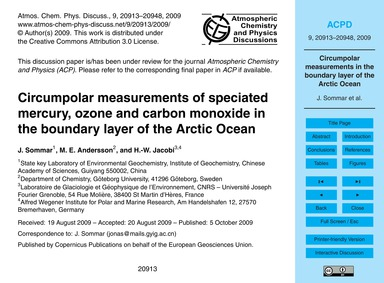 Circumpolar Measurements of Speciated Me... by Sommar, J.