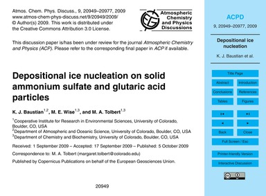 Depositional Ice Nucleation on Solid Amm... by Baustian, K. J.