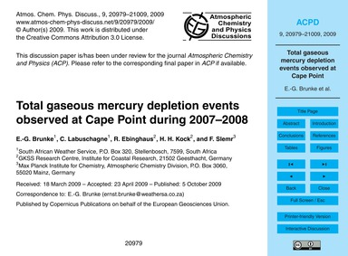 Total Gaseous Mercury Depletion Events O... by Brunke, E.-g.