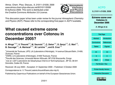 What Caused Extreme Ozone Concentrations... by Minga, A.
