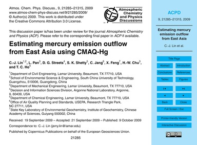 Estimating Mercury Emission Outflow from... by Lin, C.-j.