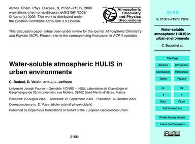 Water-soluble Atmospheric Hulis in Urban... by Baduel, C.
