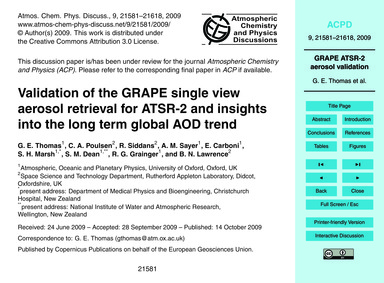 Validation of the Grape Single View Aero... by Thomas, G. E.