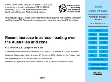 Recent Increase in Aerosol Loading Over ... by Mitchell, R. M.