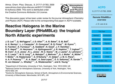 Reactive Halogens in the Marine Boundary... by Lee, J. D.