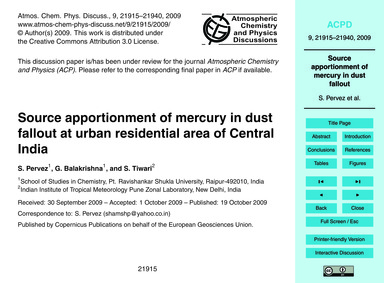Source Apportionment of Mercury in Dust ... by Pervez, S.