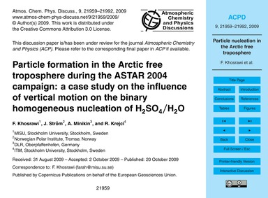 Particle Formation in the Arctic Free Tr... by Khosrawi, F.