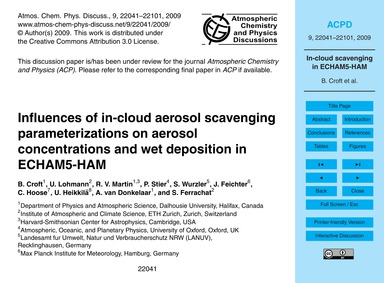 Influences of In-cloud Aerosol Scavengin... by Croft, B.