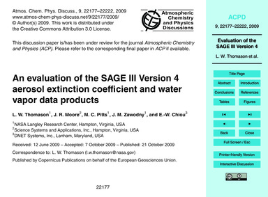 An Evaluation of the Sage III Version 4 ... by Thomason, L. W.