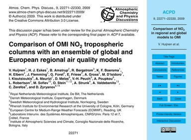 Comparison of Omi No2 Tropospheric Colum... by Huijnen, V.