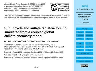 Sulfur Cycle and Sulfate Radiative Forci... by Tsai, I.-c.