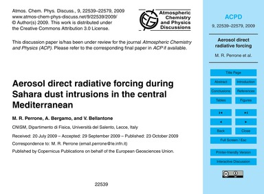 Aerosol Direct Radiative Forcing During ... by Perrone, M. R.