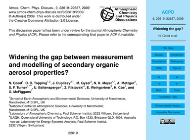 Widening the Gap Between Measurement and... by Good, N.