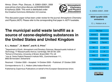 The Municipal Solid Waste Landfill as a ... by Hodson, E. L.