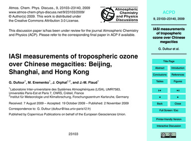 Iasi Measurements of Tropospheric Ozone ... by Dufour, G.