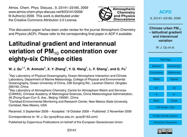 Latitudinal Gradient and Interannual Var... by Qu, W. J.