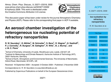 An Aerosol Chamber Investigation of the ... by Saunders, R. W.