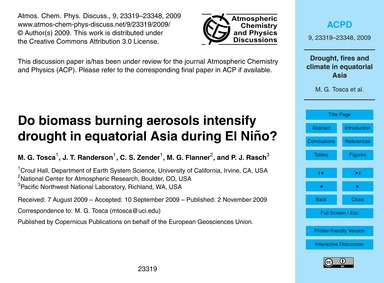 Do Biomass Burning Aerosols Intensify Dr... by Tosca, M. G.