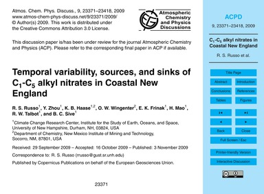 Temporal Variability, Sources, and Sinks... by Russo, R. S.