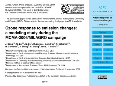 Ozone Response to Emission Changes: a Mo... by Song, J.