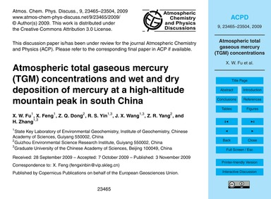 Atmospheric Total Gaseous Mercury (Tgm) ... by Fu, X. W.