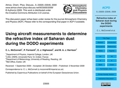 Using Aircraft Measurements to Determine... by McConnell, C. L.