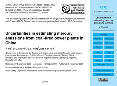 Uncertainties in Estimating Mercury Emis... by Wu, Y.