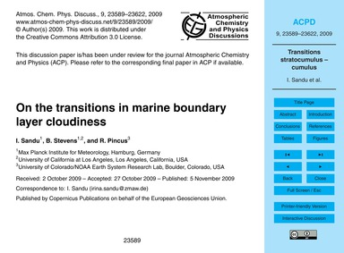 On the Transitions in Marine Boundary La... by Sandu, I.