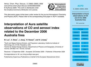 Interpretation of Aura Satellite Observa... by Luo, M.