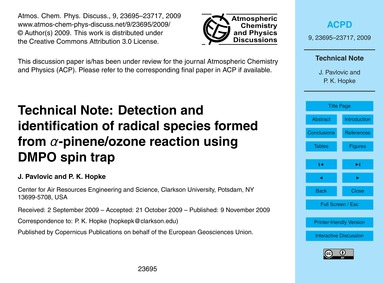 Technical Note: Detection and Identifica... by Pavlovic, J.