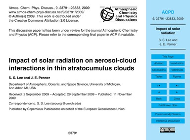 Impact of Solar Radiation on Aerosol-clo... by Lee, S. S.