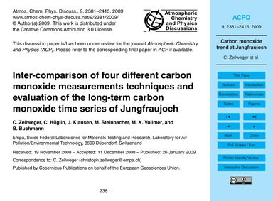 Inter-comparison of Four Different Carbo... by Zellweger, C.