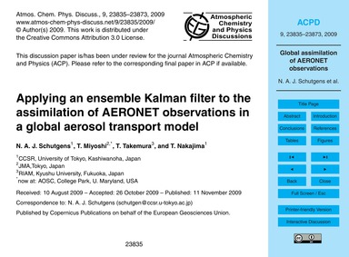 Applying an Ensemble Kalman Filter to th... by Schutgens, N. A. J.