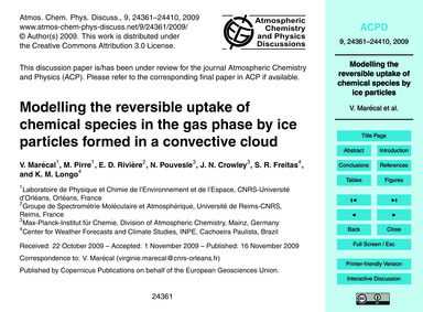 Modelling the Reversible Uptake of Chemi... by Marécal, V.