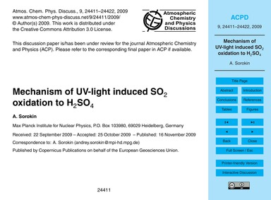 Mechanism of Uv-light Induced So2 Oxidat... by Sorokin, A.